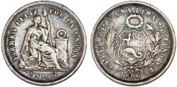 World Coins - Peru. Republic. Silver Dinero 1866 YB. About  XF