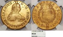 World Coins - CHILE: Colonial Issue. Fernando VI. King of Spain (1746-1759). Gold 8 Escudos 1751 So-J. NGC MS60
