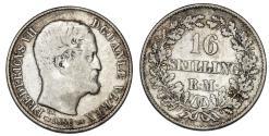 World Coins - Denmark. Frederik VII. AR 16 Skilling 1856. AVF