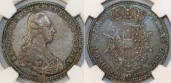 ITALY: Toscana. Pietro Leopoldo di Lorena (1765-1790) AR 1/2 Francescone (5 Paoli) 1778. NGC AU53! RARE!