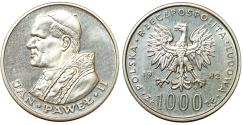 World Coins - Poland. Silver 1000 zloty 1983. Second visit to Poland of Pope Saint John Paul II. UNC