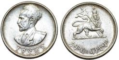 World Coins - Empire of Ethiopia. Haile Selassie I (1941-1974). AR 50 Cent EE1936. UNC