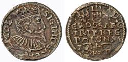 World Coins - Poland. Rzeczypospolita. king Sigismund III. 3 Gross 1595 I-FS-C. Very Nice Contermporary Counterfeit!