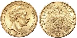 World Coins - Germany Empire. Prussia. Wilhelm II (1888-1918). Gold 20 Mark 1893 A. Nice AU