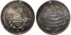 World Coins - Argentina. 3rd Congress in the name of Carlos Tarcuato. AR Medal 1885. XF, holed