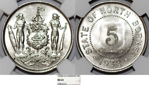World Coins - British North Borneo. CU-NI 5 Cent 1935 H. NGC MS65, Scarce BU