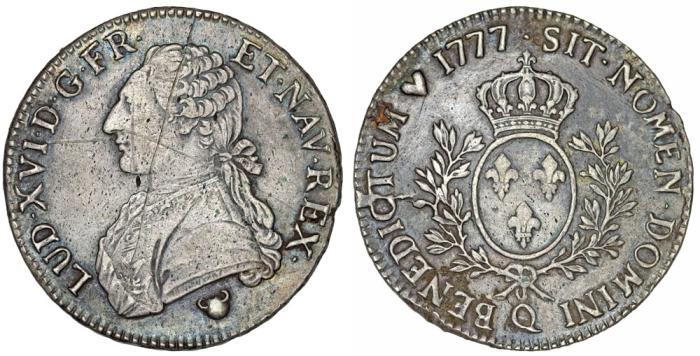 World Coins - France. King Louis XVI, 1774-1793. Silver ECU 1777 Q. aVF, Scarce