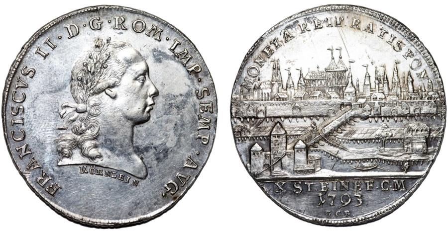 World Coins - GERMANY: Regensburg. Franz II (1792-1806) as Holy Roman Emperor. AR Konventionstaler 1793 GCB. UNC/Choice AU+