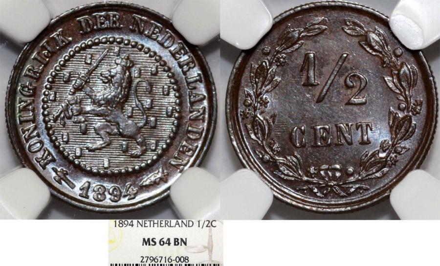 World Coins - Kingdom of Netherlands. Queen Wilhelmina. AE 1/2 Cent 1894. NGC MS64BN