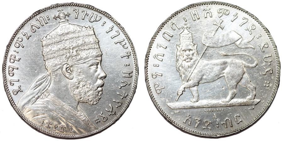 World Coins - Empire of Ethiopia. Mamelik II (1889-1913). AR Birr EE1895. AU