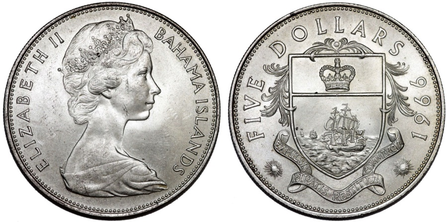 World Coins - Bahamas Islands. Queen Elizabeth II (1952- ). Large Silver 5 Dollars 1966. UNC