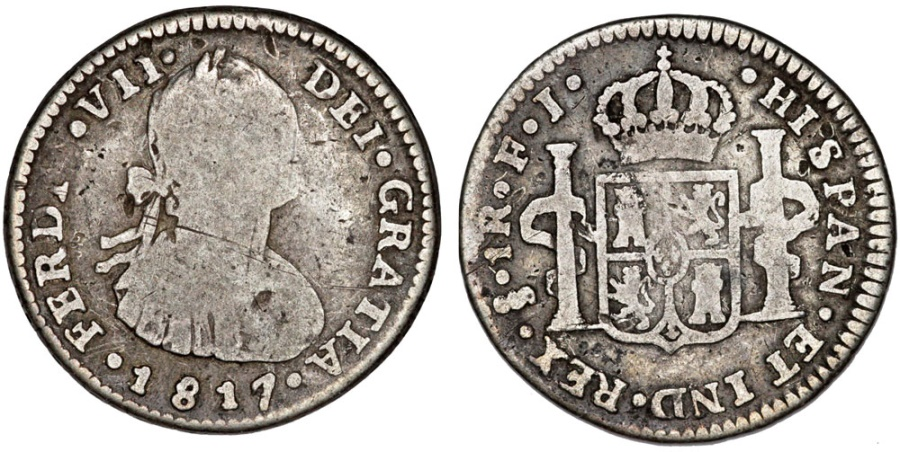 World Coins - Chile. Colony. Ferdinand VII. AR 1 Real 1817. aVF