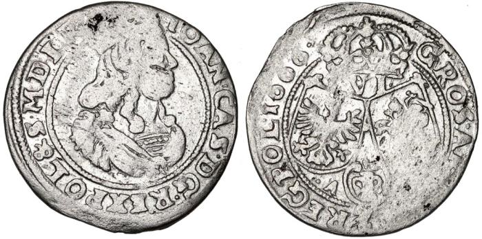 World Coins - Poland. Cracow. John II Casmir (1648-1668). AR 6 Groschen 1666. Typical Fine+
