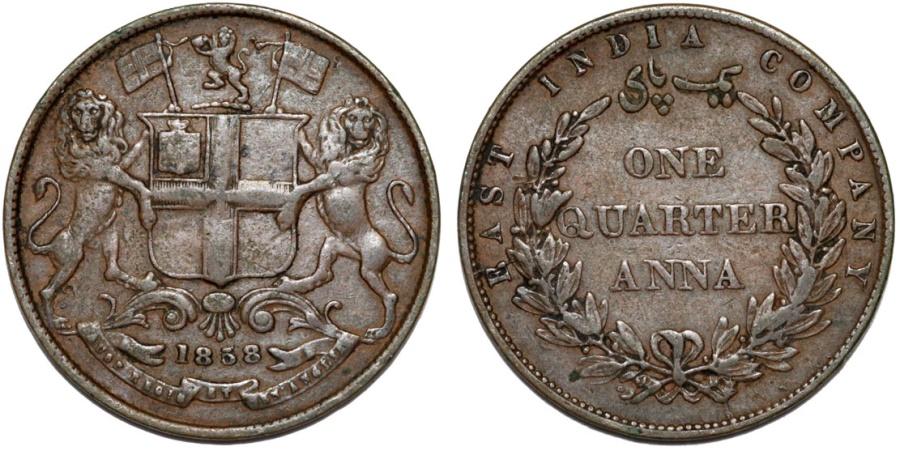World Coins - British East India Company. AE 1/4 Anna 1858. XF