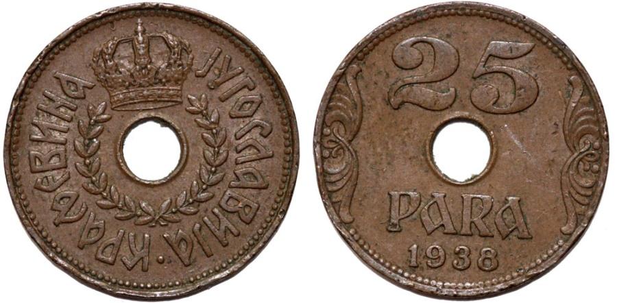 World Coins - Yugoslavia. Petar II (1934-1945). 25 Para 1938. Choice XF/AU.
