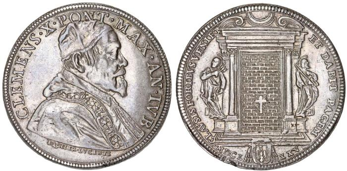 "World Coins - ITALY. Papal States. Pope Clemente X (1670-1676). AR Piastra 1675 ""Holly Year"".  Nice XF."