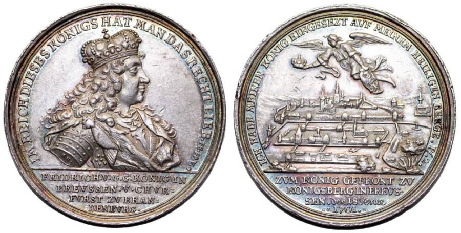 """World Coins - THE KINGDOM OF PRUSSIA. King Frederick I (1701-1740). Silver """"Coronation"""" Medal 1701 Nuremberg by G. Hautsch and GF. RARE Choice XF!"""