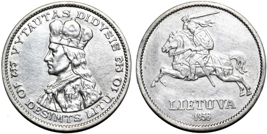 World Coins - Lithuania. Republic. Silver 10 Litu 1936. UNC, hairlines