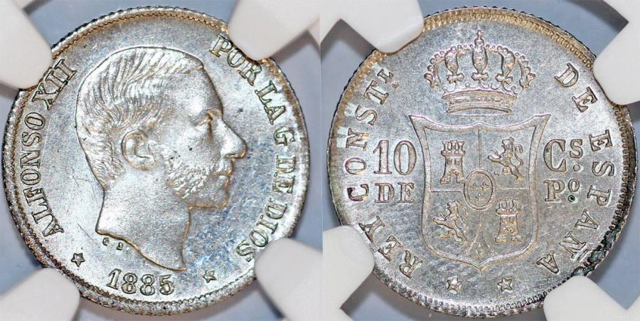 World Coins - Phillipines as Spanish Colony. Alfonso XII. AR 10 Centavo 1885. NGC MS65!