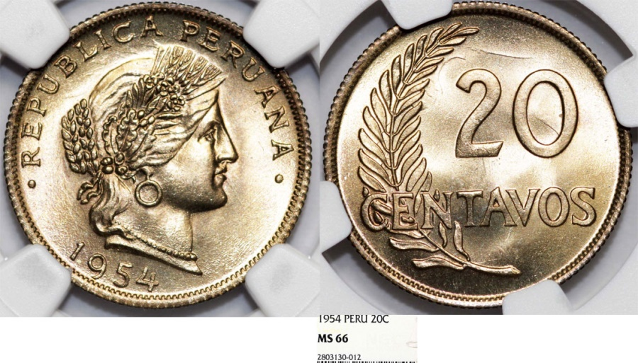 World Coins - Peru. Republic. Beauty. 20 Centavos 1954. NGC MS66