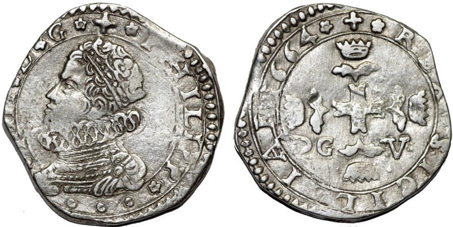 World Coins - Italy. Sicily under Spain. Phillip IV (1621-1665). Silver 3 Tari 1664 DG/V. Choice VF/XF