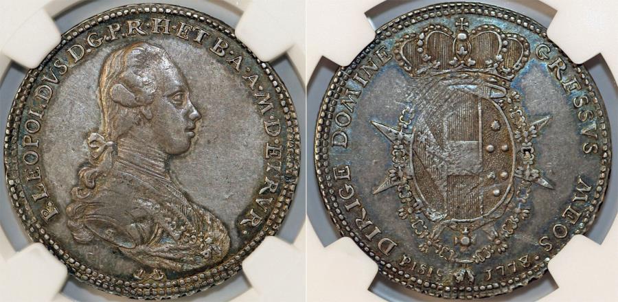 World Coins - ITALY: Toscana. Pietro Leopoldo di Lorena (1765-1790) AR 1/2 Francescone (5 Paoli) 1778. NGC AU53! RARE!