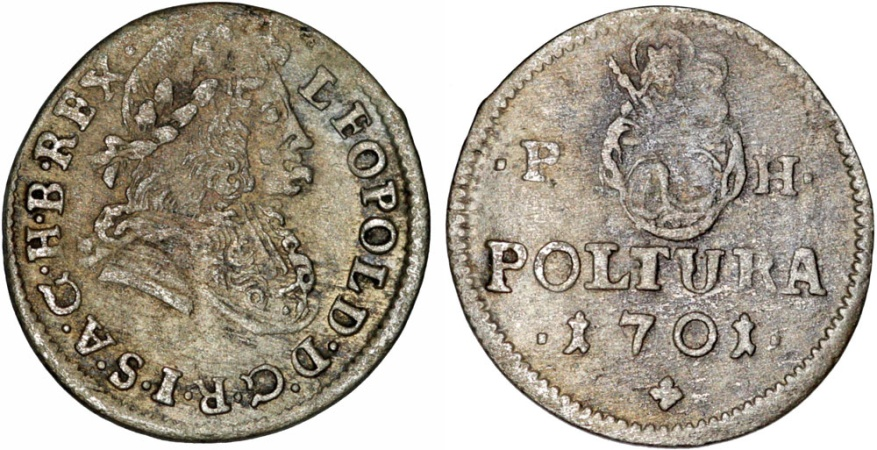 World Coins - H.R.E. Hungary. Leopold I (1657-1705). AR Poltura 1701, PH. Choice VF