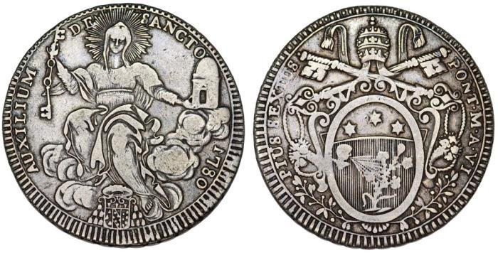 World Coins - Italian Papal States: Rome. Pope Pio VI (1775-1799) – Giovanni Angelo Braschi. AR Scudo 1780. Nice VF