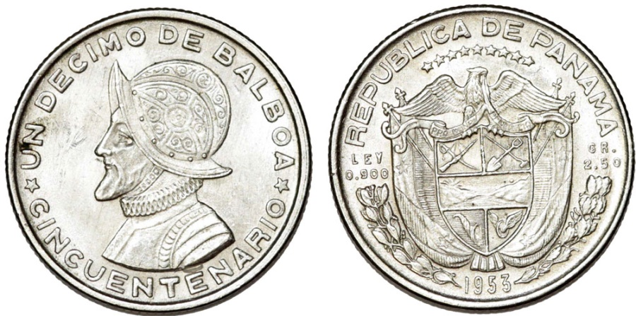 World Coins - Republic of Panama. Silver  Comemorative 1/10 Balboa 1953. BU