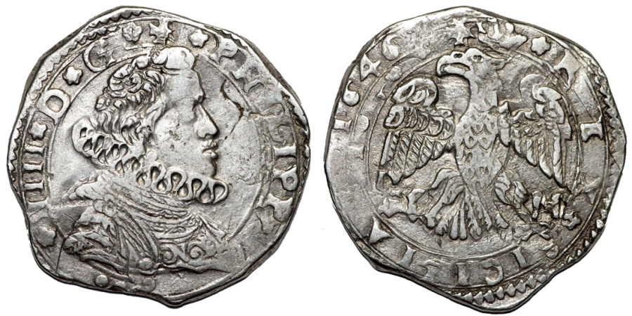 World Coins - Italy. Sicily under Spain. Phillip IV (1621-1665). Silver 4 Tari 1646 IP/MP. Choie VF/XF