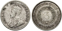 World Coins - Great Britain rule: George V. South Africa. Silver 3 Pence 1924. About VF