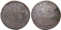 World Coins - Belgium Antwerp under France. Napoleon Bonaparte (1810-1814). AE Siege 10 Centimes 1814. Fine