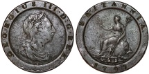 World Coins - Great Britain. George III (1760-1820). Cu Large/Thick 2 Pence 1797. About VF