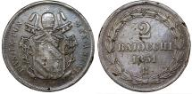World Coins - Italy Papal States. Rome. Pius IX 1846-1878. CU 2 Baiocchi 1851R. About VF