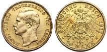 World Coins - German States Hesse-Darmstadt. Ernst Ludwig. Gold 20 Mark 1911-A. AU, hairlines