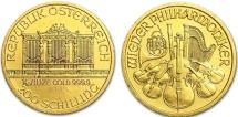 Austria 1/10 oz Gold Philharmonic 200 Shillings 1998. BU