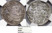 World Coins - Poland. Rzeczypospolita. Olkusz. king Sigismund III. AR 3 Gross 1597. NGC AU58