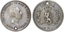 World Coins - Norway under Sweden Oscar I (1844-1859). Silver 12 Skilling 1847. XF
