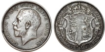 World Coins - Great Britain. king George V. AR Half Crown 1914. Toned XF