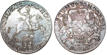 World Coins - Netherlands. Gelderland. AR Half Ducatone called: Silver Rider 1785. Choice AU