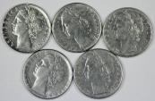 World Coins - Italy. Lot of 3 Coins. SST 100 Lire 1953-1979. XF-UNC