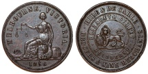 World Coins - AUSTRALIA, Private Token Issue. Melbourne, Victoria. Hide & De Carle, Grocers & Wine Merchants. CU Penny 1858. XF