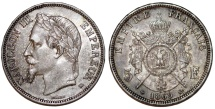 World Coins - France. Napoleon III (1852-1870). Silver 5 Francs 1869 BB. Choice AU, toned