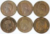 World Coins - France. Napoleon III. Lot of 6 Coins: 10 Centimes 1853-1861. Fine-About VF