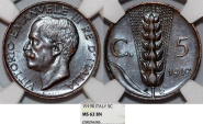 World Coins - Italy. Vittorio Emanuele III. BRZ 5 Centesimos 1919. NGC MS62 BN - RARE