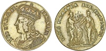 "World Coins - France. LOUIS XV 'THE WELL-BELOVED' (1715-1774) . Brass Jeton ""Pacta with Spain "" ca. 1730. aVF"