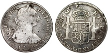 World Coins - Guatemala as Spanish Colony. Charles IV. RARE AR 2 Reales 1789 NG-M. About VF