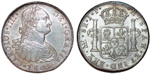 World Coins - Peru as Spanish Colony. Carlos IV (1788-1808 ). AR 8 Reales 1805 ME IJ. Choice XF