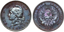 World Coins - Argentina. Republic. AE 2 Centavos 1893. Choice AU, toned beauty
