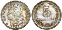 World Coins - Argentina. Republic.  CU-NI 5 Centavos 1921. Choice XF